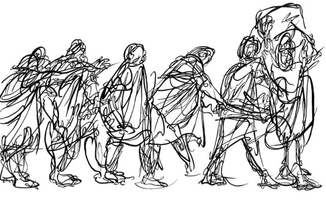Life model drawn moving in a series of poses