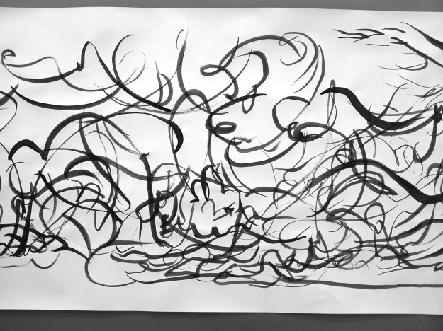 Drawing movement with brush and paint, close-up #3